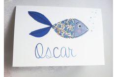Carte Oscar le poisson carte de vœux par EphemereCollection sur Etsy