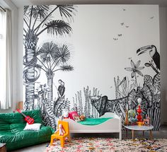 Sometimes, a wallpaper can make all the difference in your decoration. That's why we selected 10 Modern Art Deco Wallpaper Ideas. Deco Jungle, Deco Kids, Black And White Wallpaper, Tropical Decor, Kid Spaces, Space Kids, New Wall, Kids Decor, Decor Ideas