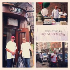 """Neighborhood Unity... Saturday morning was spent """"Cleaning Up My North End"""" by residents and local businesses during an event held by the NECC in their continuous efforts to keep the North End of Boston beautiful. #northend #italia #sociallyscene #cornacchiocommunications #depasqualeventures @ariatrattoria @BostonCPG"""