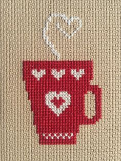 Cross Stitch Charts Latte Love cross stitch pattern - Perfect gift for your favorite cocoa or coffee lover! Simply, but stunning coffee cup cross-stitch pattern.Pattern Finished Size: x 3 (stitched on aida) Cross Stitch Beginner, Cross Stitch Heart, Simple Cross Stitch, Cross Stitch Borders, Cross Stitch Flowers, Cross Stitching, Cross Stitch Embroidery, Embroidery Patterns, Easy Cross