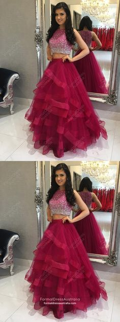 Fuchsia Prom Dresses Long, Modest Two Piece Formal Evening Dresses A-line Two Piece Prom Dresses Fuchsia, Long Prom Dresses For Teens, A-line Prom Dresses Sequins, Sexy Prom Dresses Tulle Prom Dresses Long Modest, Prom Girl Dresses, Indian Gowns Dresses, Sequin Prom Dresses, Simple Prom Dress, Prom Dresses 2018, Prom Dresses Online, Ball Dresses, Dress Prom