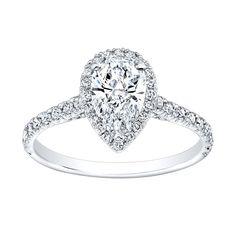 18k Gold 1 1/4ct TDW Diamond Pear-shape Halo Ring