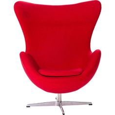 LexMod Glove Wool Lounge Chair in Red