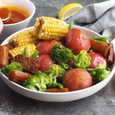 Just vegan sausage, veggies, and an insanely delicious cajun butter in this vegan boil, no seafood! This is a great dinner recipe to feed a crowd, or meal prep to have leftovers for a couple days!