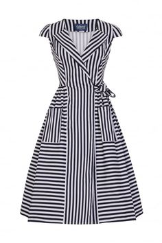 Collectif Navy Blue and White Stripe Swing Tea Dress Girls Dresses Sewing, 1940s Dresses, Vintage Style Dresses, Cotton Dresses, Simple Dresses, Cute Dresses, Beautiful Dresses, Casual Dresses, Fashion Dresses