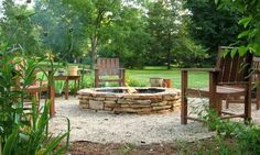 firepit with gravel or crushed shells surrounding