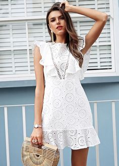 Simplee Embroidery cotton white dress women Ruffle sleeve high waist short dress 2018 Keyhole back casual dress female vestidos White Dress Outfit, White Ruffle Dress, Ruffle Sleeve Dress, Lace Dress, Lace Ruffle, White Lace, Ruffles, White Dresses For Women, Trendy Dresses