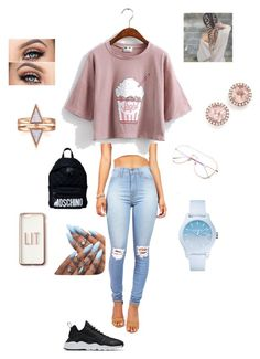 """""""Summer💕"""" by maddienellie on Polyvore featuring Vibrant, NIKE, Moschino, Missguided, Lacoste and Dana Rebecca Designs"""