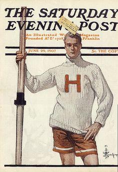 """""""Harvard Rower,"""" June 29, 1907, by J. C. Leyendecker"""