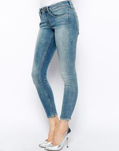 ASOS Whitby Low Rise Skinny Ankle Grazer Jeans in Camden Light Wash
