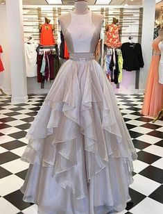 Champagne Organza Long Evening Dress Two Piece Prom Dress Graduation Dress This dress could be custom made, there are no extra cost to do custom size and color. Please noted: If you want rush your order,Please click this link: www.2017dress.storenvy.com/products/22997799-rush-order-service- - Online Store Powered by Storenvy