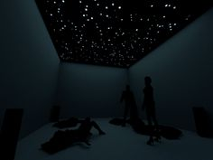 Installation with pillows concept at UCCA Farnham exhibition : visitors can observe the stars, comfortably resting on the pillows.