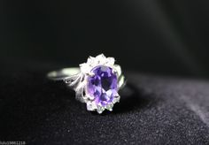 WOMNE'S LUXURY Sterling Silver NATURAL Amethyst Women's Ring Size 9 #Unbranded #Journey