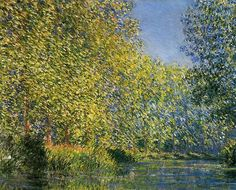 Bend in the Epte River near Giverny by Claude Monet - Bend in the Epte River near Giverny by Claude Monet depicts the rare sight of poplar trees in full flower. Learn about this Monet painting from Pierre Auguste Renoir, Edouard Manet, Monet Paintings, Landscape Paintings, Claude Monet Giverny, Artist Monet, Philadelphia Museum Of Art, Philadelphia Pa, Edgar Degas