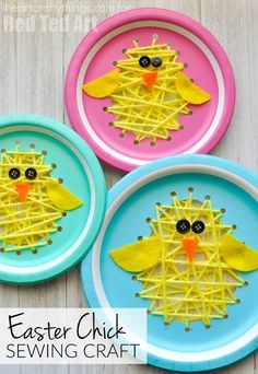 Paper Plate Easter Sewing Craft - Oh my cuteness!? The perfect Paper Plate Chick craft for kids - make these darling chicks - a perfect sewing craft and fine motor development activity. They look fantastic as is, or strung up as an Easter Chick garland. Too cute.