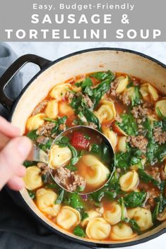 Easy Sausage and Tortellini Soup is a hearty dinner for your whole family! Made with flavorful broth, tomatoes, fresh spinach, it's budget-friendly, too! Cheese Tortellini Recipes, Sausage Tortellini Soup, Sausage Soup, Spinach Recipes, Sausage Recipes, Cooking Recipes, Slow Cooking, Cooking Ideas, Easy Soup Recipes