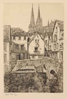 Samuel Chamberlain (1895-1975-American) - Town of Chartres - 1928