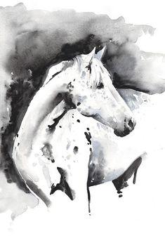 Stampa di Acquerello Originale Inchiostro /& Pittura Bambina /& Pony arte equestre