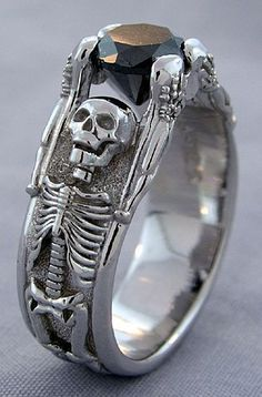 Gothic Jewelry Box Diy - white gold skeleton engagement ring with 1 ct round brilliant black diamond. Available in rose or yellow gold upon request Size: please message ring size at time of order Please allow weeks for crafting and delivery Skull Jewelry, Gothic Jewelry, Western Jewelry, Hippie Jewelry, Jewlery, Skull Rings, Jewelry Box, Jewelry Rings, Baskets Converse