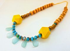 Statement Necklace, Yellow Wooden Necklace, Turquoise Necklace, Wood Necklace, Chunky necklace, Gift For Her, Summer necklace