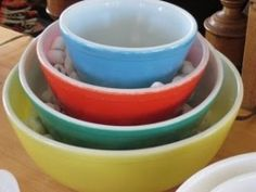 Vintage Pyrex mixing bowls were a staple in a Boomers Childhood.
