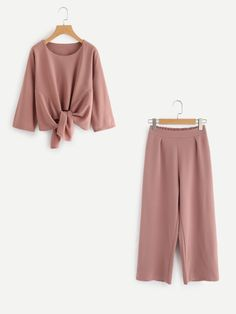 Knot Front Top With Pants Set -SheIn(Sheinside)