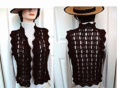 CROCHET Vest or Shrug size 28 60 inch chest Crochet by Hectanooga