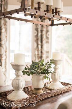 Green and white spring centerpiece #springdecor #springcenterpiece #centerpiece