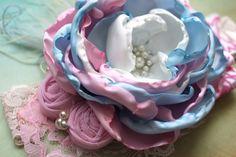 Venda rosa azul y blanca accesorio para el pelo por AldonasBoutique