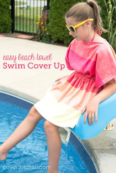 A free sewing tutorial for kids swimsuit cover-up. Easy sewing project, learn how to make a swimsuit cover up out of a beach towel Easy Sewing Projects, Sewing Projects For Beginners, Sewing Hacks, Sewing Tutorials, Sewing Tips, Sewing Ideas, Sewing Lessons, Swim Cover, Swimsuit Cover