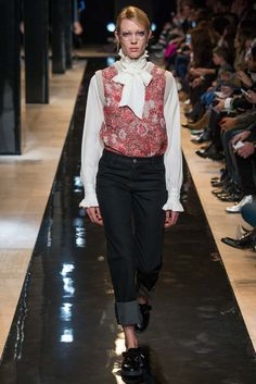 PAUL & JOE FALL 2015 RTW- Floral sleeveless sweater over Victorian blouse, tucked into high waist cuffed jeans