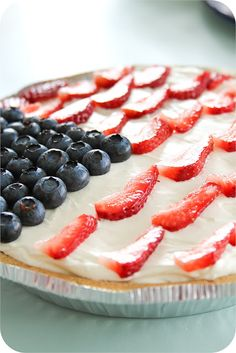 Red White and Blueberry Cheesecake. Super easy July 4th dessert idea.