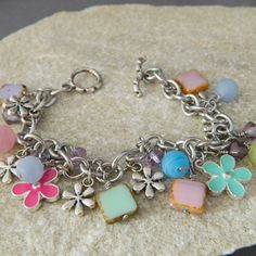 The Color of Spring Charm Bracelet by WireNWhimsy on Etsy