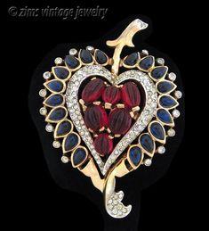 Vintage Rare TRIFARI Jewels of India MOGHUL ruby sapphire HEART gold PIN Clip #Trifari