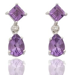 Real 925 Sterling Silver Genuine Amethyst February Birthstone with Cz Dangling Drop Earrings