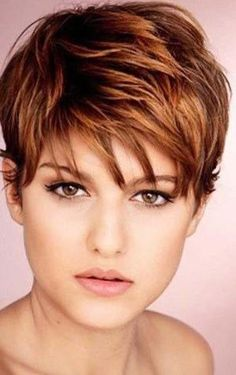 short brown hair with blonde and auburn highlights