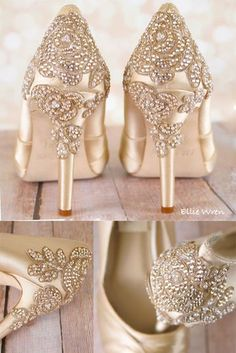 Gold Vintage Inspired Wedding Shoes with Crystal Rose Heel Make your wedding dress jealous with these gold wedding shoes. Custom made for each bride, these peep toe bridal shoes f. Champagne Wedding Shoes, Sparkly Wedding Shoes, Wedge Wedding Shoes, Vintage Champagne, Wedding Gold, Boho Wedding, Cristal Rose, Converse Wedding Shoes, How To Dress For A Wedding