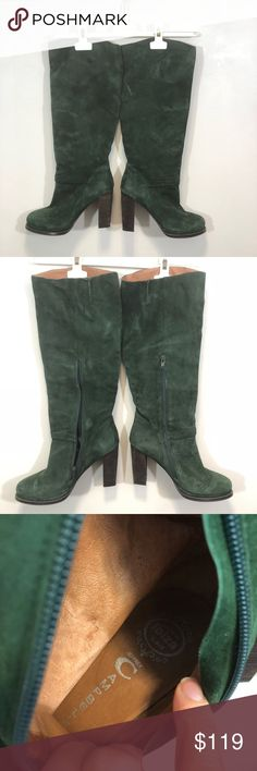 "Jeffrey Campbell Suede Knee High Heeled Boot EUC. Worn 2 times. Slight platform on the forest green heeled boot. Genuine Suede - no blemishes/stains. Size 9 fits true. 14"" shaft. 4"" heel. 1/2 platform. 15"" around calf. Looks great with midi skirt/dress or over leggings with a longer tee and Moto jacket. Jeffrey Campbell Shoes Heeled Boots"
