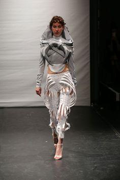 Francesca Capper Graduate Collection Image via Francesca Capper. Futuristic, Tape, Sculpture, Costumes, Future, Clothing, Fabric, Fashion Design, Collection