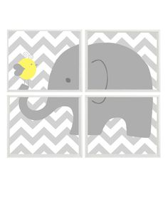 Elephant Nursery Art Yellow Gray Chevron Neutral by RizzleandRugee