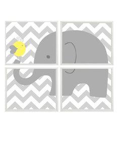 Elephant Nursery Art Chevron Bird  Gray Yellow  by RizzleandRugee, $50.00