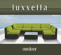Genuine Luxxella Outdoor Patio Wicker Sofa Sectional Furniture BELLA 7pc Gorgeous Couch Set PERIDOT