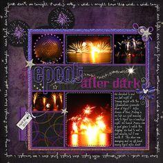 Epcot Illuminations. Love this 6 photo scrapbook page.