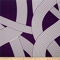 $7.98/yard Charmeuse Satin Geometrics Purple/White