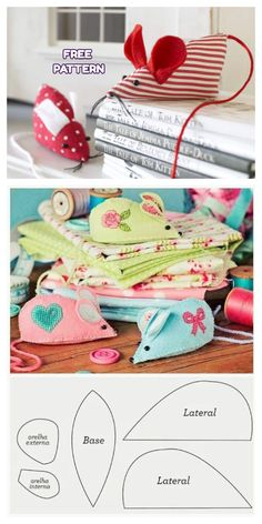 Sewing Patterns Free, Free Sewing, Sewing Toys, Sewing Crafts, Fabric Toys, Fabric Art, Mouse Crafts, Hand Sewing Projects, Fabric Animals