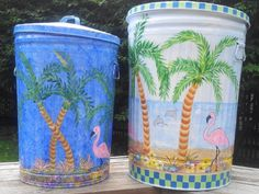30 Gallon & 20 Gallon Hand Painted Trash Cans  krystasinthepointe.com - ETSY