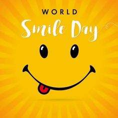 World Smile Day yellow stripes card. Smile with tongue and lettering World Smile Day on yellow beams background. World Smile Day, Child Face, Friday Feeling, Have A Beautiful Day, Self Love Quotes, Happy Smile, Pikachu, Author, Lettering