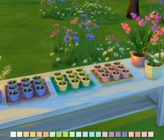 Flower Pots Tray With Seasons just around the corner and the upcoming florist skill that comes with it I was inspired to make some florist/garden decor clutter items, so I made these little seedlings. Sims 4 Seasons, Sims 4 Bedroom, Sims 4 Characters, Sims 4 Cc Packs, The Sims 4 Download, Sims 4 Houses, Sims 4 Game, Flower Pots, Flowers