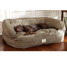 Dog Bed With Bolster / Lounger Deep Dish Dog Bed -- Orvis from Orvis. Saved to My Wishlist. #dogbed #dog #bed #comfy #puppy #need #love #awesome.