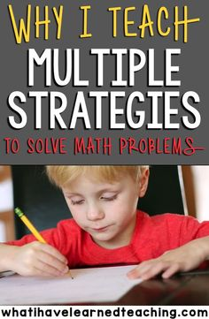 Teaching students multiple strategies to solve math problems develops their mathematical thinking and teaches them to be flexible thinkers. It also gives students a foothold into the world of mathematical thinking. Student Teaching, Math Teacher, Math Classroom, Teaching Ideas, Teacher Stuff, Classroom Ideas, Stem Teacher, Math Strategies, Math Resources